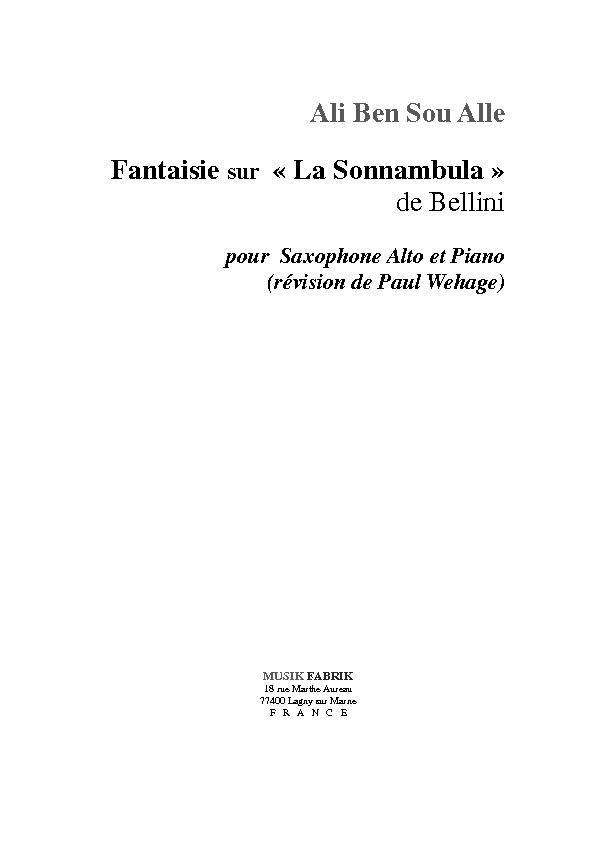 """Fantaisie sur """"La Sonnambula"""" de Bellini"""