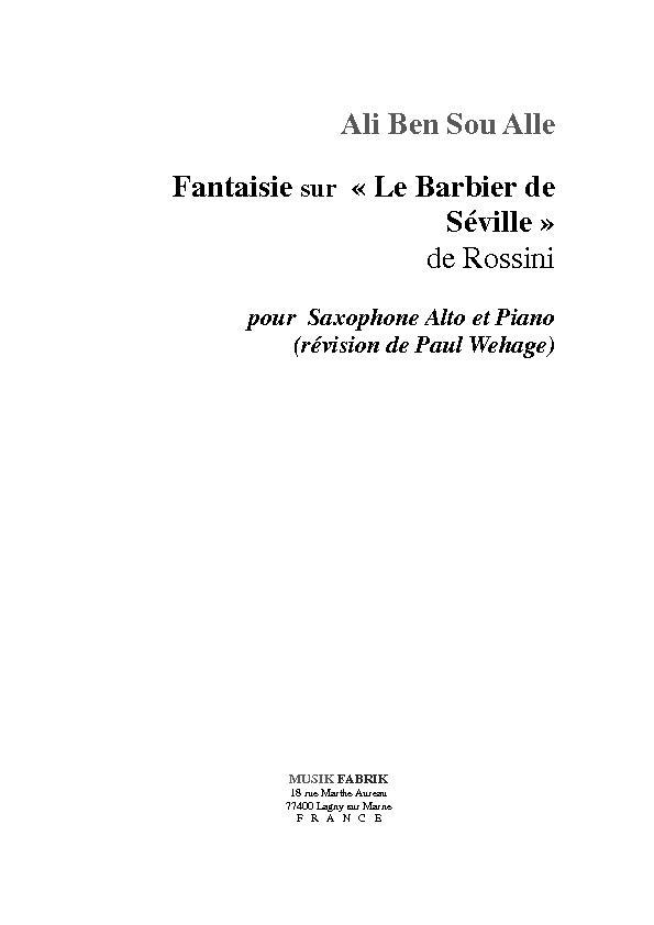 """Fantaisie sur """"Le Barbier de Séville"""" de Rossini"""