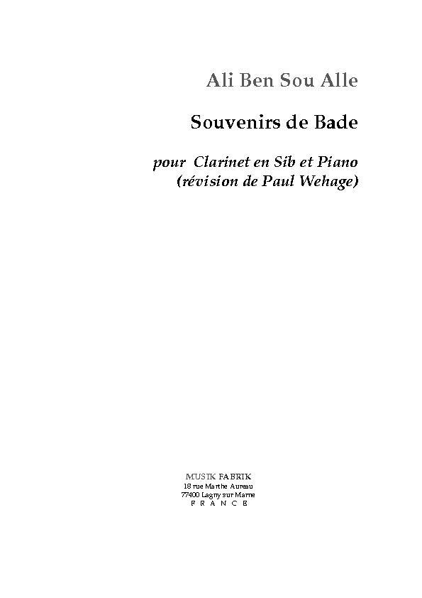 Souvenir de Bade - Clarinette
